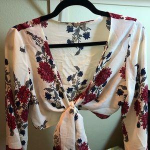 LF floral front tie crop top